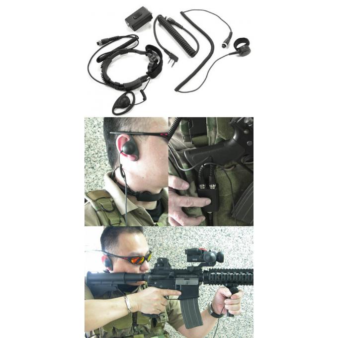 Taktický headset s hrdelním mikrofonem (Kenwood 2pin)
