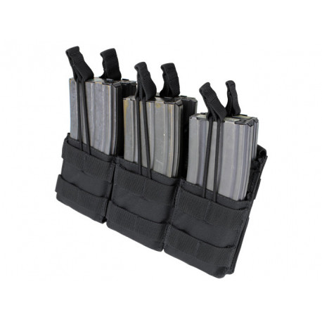 Triple Stacker Open-Top 6xM4/6xM16 Mag MOLLE Pouch Black
