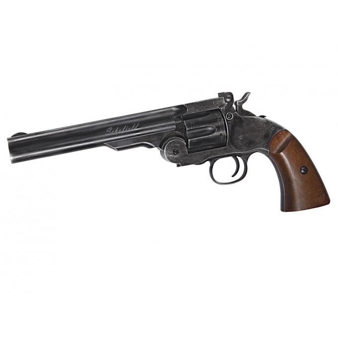 """Schofield 6""""Airgun - Aging BK & Wooden Grip 4,5mm"""