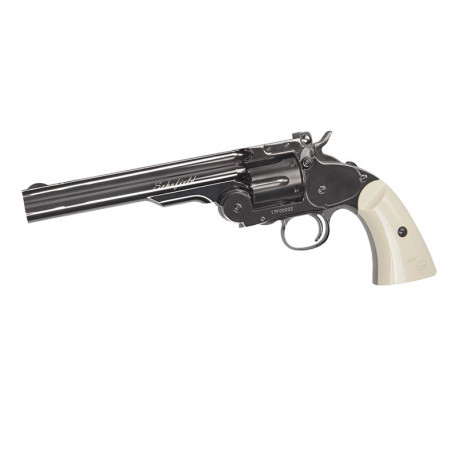 "Schofield 6"" Airgun - Plated Steel GY & Ivory Grip"