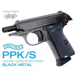 Maruzen Walther PPK/S black metal blowback gas gun