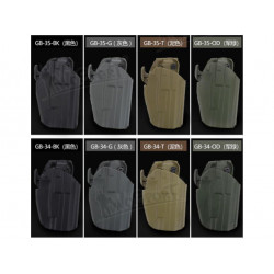 Opaskové plastové pouzdro/holster GB-34 pro GLOCK 19/VP9/P228 a HK45C, TAN