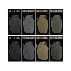 Opaskové plastové pouzdro/holster GB-35 pro GLOCK 17/18/22, M&P9, P226, 92F, HK45, olivové