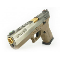 GP1799 T4 - GBB, stříbrný kovový závěr, pískový rám, zlatá hlaveň
