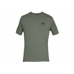Men's Short Sleeve Shirt UA Sportstyle Left Chest - GREEN, SIZE S