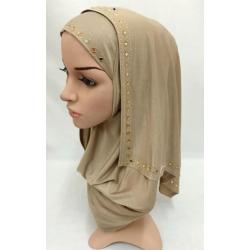 Women Lady Muslim Wrap Style Hijab, light brown