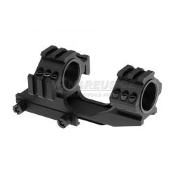Spojené montážní kroužky 25mm / 30mm s horní a boční RIS - černé