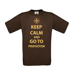 T-shirt KEEP CALM and GO TO PROTECTOR, brown, size XXL