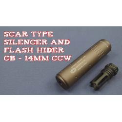 ACC tlumič 112 x 37 mm s flashiderem - pískový