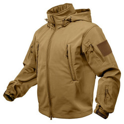 TACTICAL hooded jacket softshell COYOTE, SIZE M