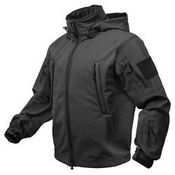 TACTICAL hooded jacket softshell BLACK, SIZE M