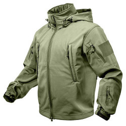 TACTICAL hooded jacket softshell OLIVE, SIZE M