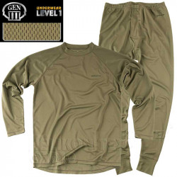 Set underpants and shirt features LEVEL 1 Olive Green, SIZE XS