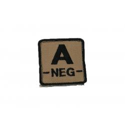 ID. krevní skupiny na suchý zip - A - NEG - písková