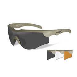 Goggles ROGUE Smoke grey + clear + light rust lens/Com.Temp. matte tan frame